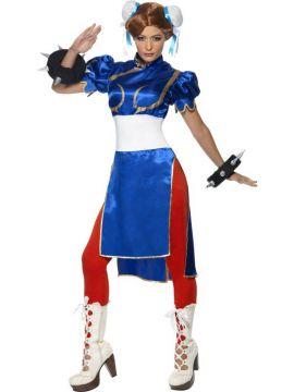 Chun-Li For Sale - Chun-Li Costume, Super Street Fighter Iv, Dress, Wristcuffs, Leggings and Hair Bun Covers | The Costume Corner Fancy Dress Super Store
