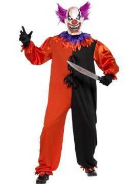 Cirque Sinister Scary Bo Bo the Clown Costume For Sale - Cirque Sinister Scary Bo Bo the Clown Costume, with Jumpsuit and Mask, in Display Bag | The Costume Corner Fancy Dress Super Store
