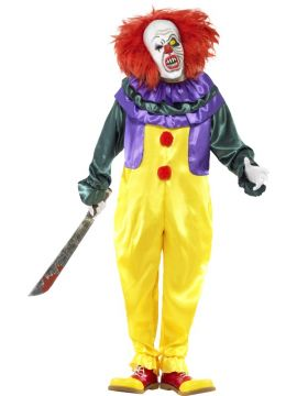 Classic Horror Clown Costume For Sale - Classic Horror Clown Costume, with Jumpsuit and Mask, in Display Bag | The Costume Corner Fancy Dress Super Store