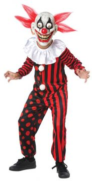 Clown Goggly Eye For Sale - Mask with eyes on springs, neck ruffle & red/black jumpsuit | The Costume Corner Fancy Dress Super Store