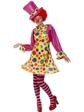 Clown Lady Costume For Sale - Clown Lady Costume, Multi-Coloured, Hooped Dress, Shirt, Bow Tie, Stripy Tights, Hat, in Display Bag
