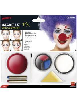 Clown Make Up Kit For Sale - Clown Make Up Kit, includes Facepaint, Nose, Crayons and Sponge | The Costume Corner Fancy Dress Super Store