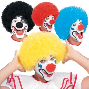 Clown Wig Assortment For Sale - Consists of: 2 blue, 2 yellow, 4 black, 4 red. Each in polybag with full color insert. | The Costume Corner Fancy Dress Super Store