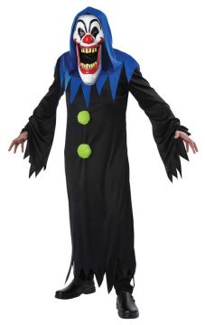Clown with Elongated face For Sale - Robe with green detailing & long mask with blue hood. | The Costume Corner Fancy Dress Super Store