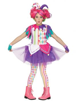 Colourful Harlequin For Sale - Dress matching tights, glovelets & headpiece | The Costume Corner Fancy Dress Super Store