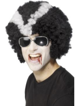 Vampire Daddy Cool Wig For Sale - Vampire Daddy Cool Wig. Afro Style. Black with white stipes. | The Costume Corner Fancy Dress Super Store