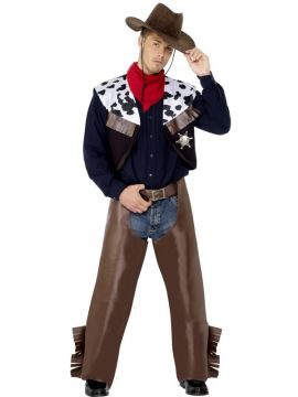 Cowboy For Sale - Cowboy Costume, Brown, with Waistcoat, Chaps, Scarf and Badge. | The Costume Corner Fancy Dress Super Store