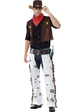 Cowboy For Sale - Cowboy Costume, Brown, with Waistcoat, Chaps, Scarf and Hat. | The Costume Corner Fancy Dress Super Store