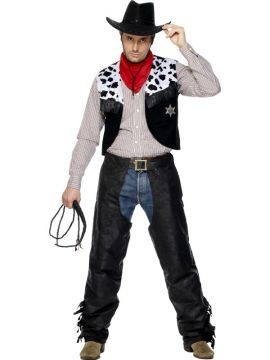 Cowboy For Sale - Cowboy costume, Black, with Chaps, Waistcoat, Belt and Neckerchief. | The Costume Corner Fancy Dress Super Store