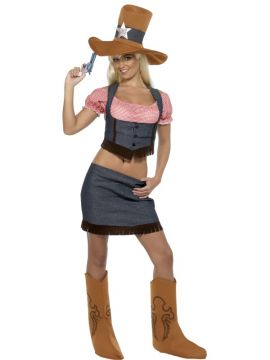Cowgirl For Sale - Cowgirl Costume, Blue and Brown, Top, Skirt, Belt, Hat and Boot Covers | The Costume Corner Fancy Dress Super Store