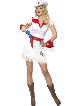 Cowgirl For Sale - Fever Cowgirl Costume, With Dress, Cuffs, Belt and Hat | The Costume Corner Fancy Dress Super Store