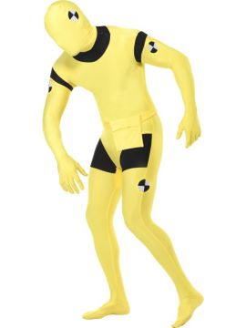 Crash Dummy Second Skin For Sale - Second Skin Suit, Crash Dummy Costume, Yellow, with Bumbag, Concealed Fly and Under Chin Opening. | The Costume Corner Fancy Dress Super Store