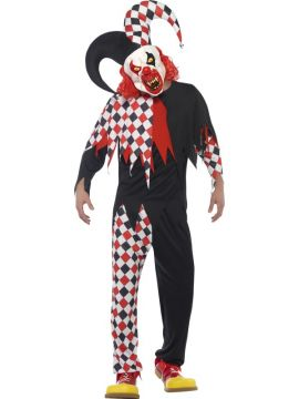 Crazed Jester - Adult For Sale - Includes Top, Trousers, Latex Mask & Attached Hat | The Costume Corner Fancy Dress Super Store