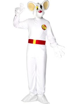 Danger Mouse For Sale - Danger Mouse Costume, Adult, White, With Jumpsuit, Attached Shoe Covers, Belt and Overhead Moulded Mask | The Costume Corner Fancy Dress Super Store