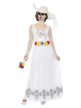 Day of the Dead Skeleton Bride - White For Sale - Day of the Dead Skeleton Bride Costume, White, with Dress, Hat & Bouquet | The Costume Corner Fancy Dress Super Store