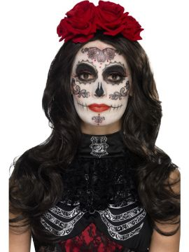 Day of the Dead Glamour Make-up kit For Sale - Includes Transfers, Face Paint, Crayon, Tash & Applicators | The Costume Corner Fancy Dress Super Store
