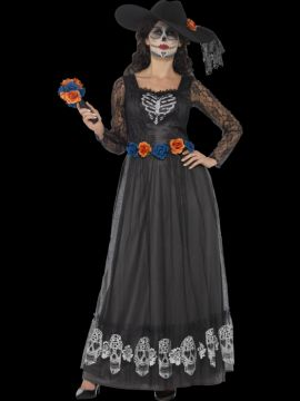 Day of the Dead Skeleton Bride For Sale - Hat, dress & bouquet | The Costume Corner Fancy Dress Super Store