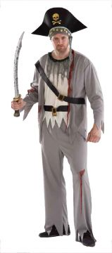Death Pirate For Sale - Shirt with attached vest; Trousers; Bandana & belt. One size fits most. | The Costume Corner Fancy Dress Super Store