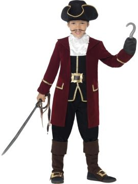 Pirate Captain Deluxe For Sale - Ooh argh, me hearties! Boys and girls alike will enjoy dressing up in the Deluxe Pirate Captain Costume! Complete with a jacket, mock waistcoat, trousers, neck scarf and hat. | The Costume Corner Fancy Dress Super Store