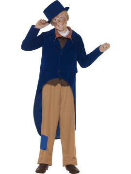 Dickensian Boy For Sale - Navy Blue Jacket, Trousers, Mock Shirt with Necktie and Hat | The Costume Corner Fancy Dress Super Store