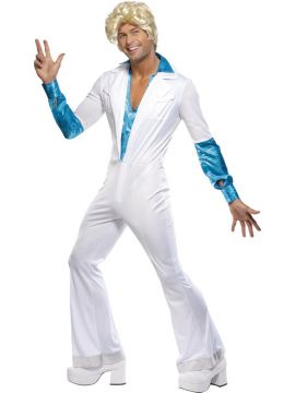 Disco Man For Sale - Disco Man Costume, All in One, Jumpsuit with Attached Shirt, 1970's Style | The Costume Corner Fancy Dress Super Store