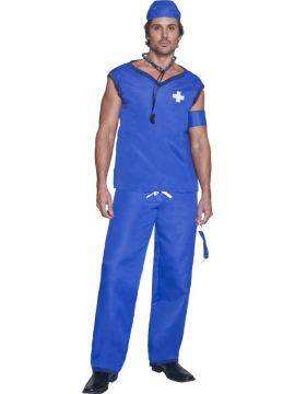 Doctor For Sale - Fever Doctor Costume, With Top, Trousers, Mask, Arm Band and Hat | The Costume Corner Fancy Dress Super Store
