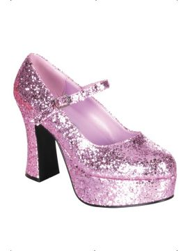 Dolly Shoes - Pink For Sale - Pink glitter dolly shoes. | The Costume Corner Fancy Dress Super Store