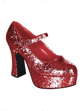 Dolly Shoes - Red For Sale - Red glitter dolly shoes. Size M/L | The Costume Corner Fancy Dress Super Store