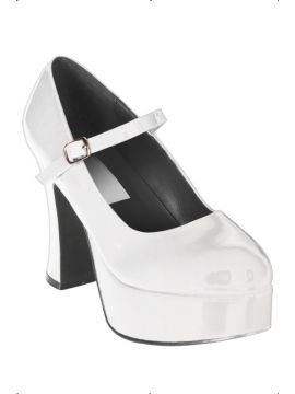 Dolly Shoes - White For Sale - White fever dolly shoes. | The Costume Corner Fancy Dress Super Store