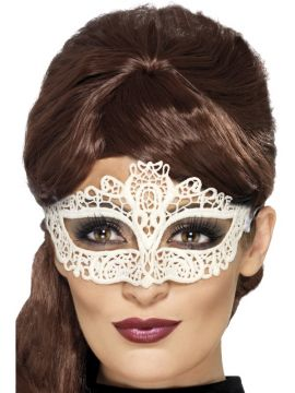 Embroidered Lace Mask For Sale - Embroidered Lace Filigree Mask, White | The Costume Corner Fancy Dress Super Store