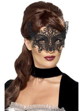 Embroidered Lace Mask For Sale - Embroidered Lace Filigree Mask, Black | The Costume Corner Fancy Dress Super Store