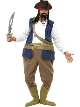 Fat Pirate For Sale - Pirate Hooped Costume, Bodysuit, Hat With Hair, Boot Covers and Sash | The Costume Corner Fancy Dress Super Store