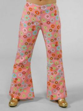 Flower Print Flares For Sale - Female Pink Flower Print Flares (Hire Costume) | The Costume Corner