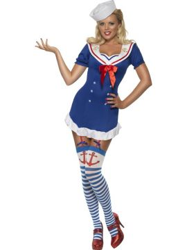 Ahoy Sailor For Sale - Fever Ahoy Sailor Costume, Blue, Dress with Garter Straps | The Costume Corner Fancy Dress Super Store