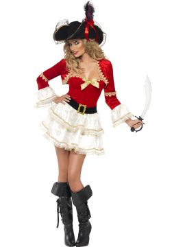 Fever Boutique Plentiful Pirate Costume For Sale - Fever Boutique Plentiful Pirate Costume, with Dress, Belt and Jacket, in Display Bag | The Costume Corner Fancy Dress Super Store