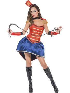 Fever Boutique Ringmaster Costume For Sale - Fever Boutique Ringmaster Costume, Red, Skirt, Corset, Hat, Collar, Epaulettes and Gloves, in Display Bag | The Costume Corner Fancy Dress Super Store
