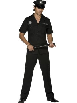 Cop For Sale - Fever Cop Costume, Black, Top, Trousers and Hat | The Costume Corner Fancy Dress Super Store
