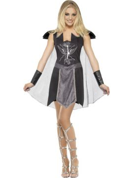 Fever Dark Warrior Costume For Sale - Fever Dark Warrior Costume, Black, Dress with Cape and Cuffs, in Display Bag | The Costume Corner Fancy Dress Super Store