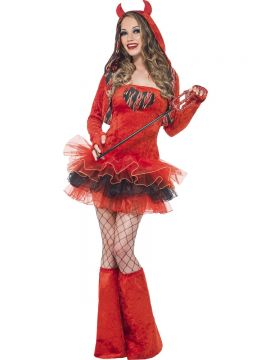Fever Devil Tutu Dress with Detachable Straps For Sale - Fever Devil Tutu Dress with Detachable Straps, Red, Hooded Jacket with Horns and Boot Covers, in Display Bag | The Costume Corner Fancy Dress Super Store