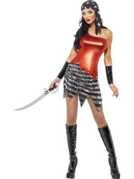 Flashy Pirate For Sale - Fever Flashy Pirate Costume, with Top and Skirt, Arm Cuffs and Bandanna | The Costume Corner Fancy Dress Super Store