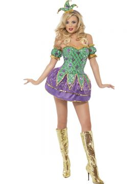 Fever Harlequin Shine with Sequins For Sale - Fever Harlequin Shine with Sequins, with Dress, Arm Sleeves and Hat on Headband, in Display Bag | The Costume Corner Fancy Dress Super Store