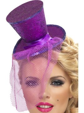 Fever Mini Top Hat on Headband For Sale - Fever Mini Top Hat on Headband, Purple, with Detachable Netting, in Display Pack | The Costume Corner Fancy Dress Super Store