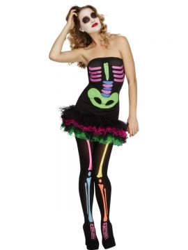 Fever Neon Skeleton Costume For Sale - Fever Neon Skeleton Costume, Black, Tutu Dress Neon Print & Detachable Clear Straps, in Display Bag | The Costume Corner Fancy Dress Super Store