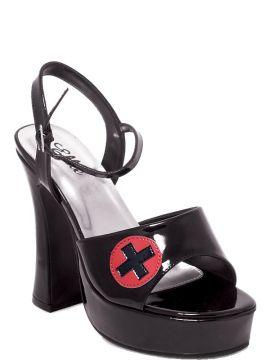 Footwear-Nurse Shoes-Black-M/L For Sale - Fever Nurse Shoes, Black Patent, open toe, platform base, ankle strap and Red Cross detail. Size M/L: UK 6 - 7. Euro 39-40 | The Costume Corner Fancy Dress Super Store