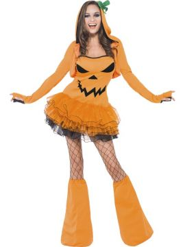 Fever Pumpkin Tutu Dress with Detachable Straps For Sale - Fever Pumpkin Tutu Dress with Detachable Straps, Orange, with Hooded Jacket and Boot Covers, in Display Bag | The Costume Corner Fancy Dress Super Store