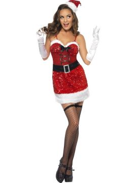 Fever Sequin Santa Sizzle For Sale - Fever Sequin Santa Sizzle Costume, with Dress and Hat, in Display Bag | The Costume Corner Fancy Dress Super Store