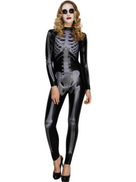 Fever Whiplash Skeleton Costume For Sale - Fever Skeleton Costume, Black, Catsuit with Cap Sleeves, in Display Bag | The Costume Corner Fancy Dress Super Store