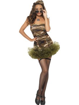 Army TuTu For Sale - Fever Tutu Army Costume, Tutu Dress with Clear Straps and Hat | The Costume Corner Fancy Dress Super Store
