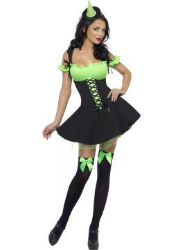 Fever Wicked  Witch Costume For Sale - Fever Wicked Witch Costume, Green, with Dress and Hat on Headband, in Display Bag | The Costume Corner Fancy Dress Super Store