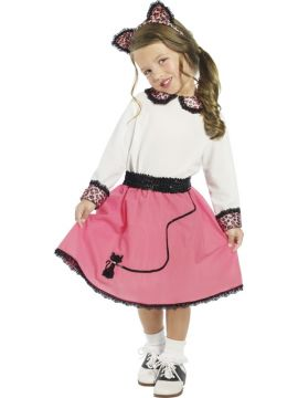 Fifties Kitty For Sale - Fifties Kitty Costume. Includes white and pink dress with printed cuffs and collar, a matching cat ears headband and a black sequin belt. | The Costume Corner Fancy Dress Super Store